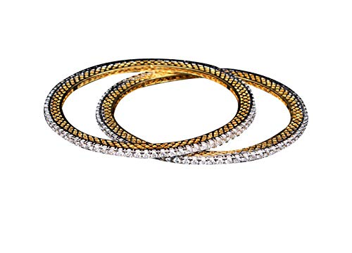 55Carat Classy Handmade Round Shaped White CZ Cubic Zircon Stone Set of Two Bangles 14k Gold Plated Designer Kangan American Diamondnd Traditional Fashion Jewellery for Office Wear VBL 7-6