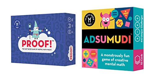 Proof! and Adsumudi Math Games Bundle - Fast Paced, Fun Card Games to Improve Mental Math Skills for Kids Ages 8-12