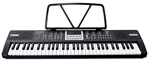 [EDWARD MILLS] 61 Key Multifunctional Musical Electronic Keyboard Piano Portable Musical Instrument with USB MP3 Play, Microphone & Power Supply (Black)
