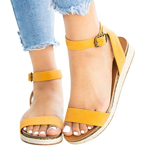 Read About Women's Cute Open Toes One Band Ankle Strap Flatform Summer Woven Flat Sandals New (Yello...