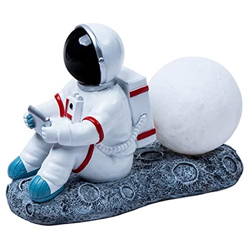 Luz De Noche Modelo De Astronauta, Luz De Noche Art Deco con 2 Temperaturas De Color, Cambio De Tacto, Lámpara De Escritorio De Astronauta Recargable, Protección Ocular, Impresión 3D, Luna