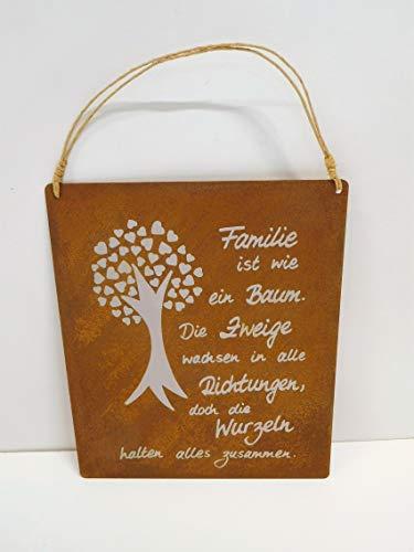 Ziegler Metallschild Edelrost Rost Türschild Türdeko Spruchtafel Metallhänger Wurzeln Metall Familie Baum Schild Spruch braun 0745-75 F77