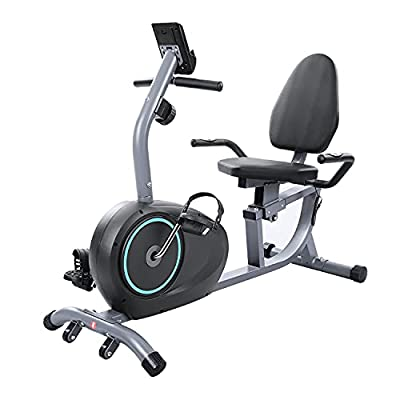 Magnetic Recumbent Exercise Bike 8 Levels Adjustable Resistance , Pulse Rate Monitoring and LCD Monitor & Pad Holder