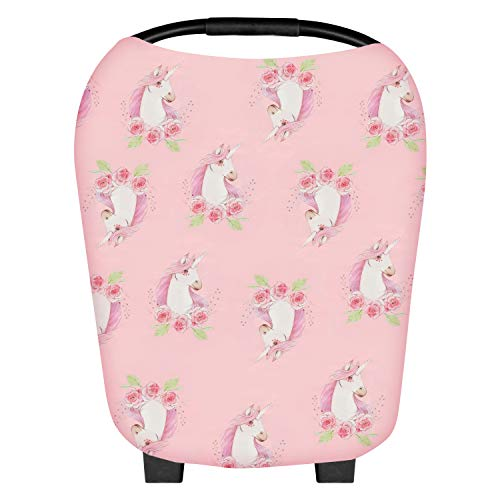 FOZZA Baby Car Seat Cover,Stretchy Infant Nursing Cover Carseat Canopy,Multiuse Mom Breastfeeding Scarf for Stroller,High Chair,Shopping Cart,Scarf and Shawl for Girls Boys - Pink Unicorn