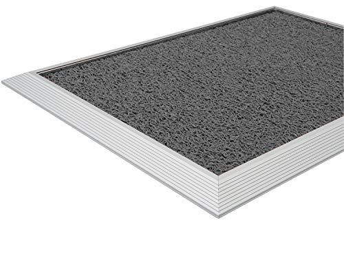 Desan   Alu Hygienisch Fußmatte   Befüllbare Aluminium Desinfektionsmatte   Reinigt und Desinfiziert Schuhsohlen   100% Vinylschlingen   Grau   48 x 68 cm