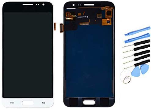 YQZ - Repuesto de cristal táctil para Samsung Galaxy J3 (2016) J320FN J320F J320M (pantalla LCD montada), color blanco