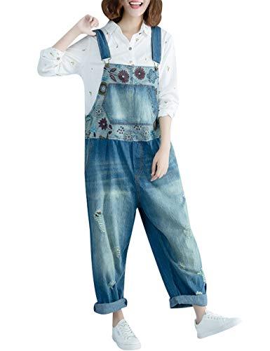 Youlee Damen Winter Herbst Verstellbarer Riemen Ärmellos Jumpsuits Latzhose mit weitem Bein Strampelhöschen Style 2 Blue