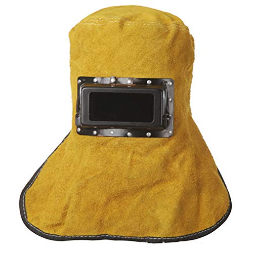 LAIABOR Schweißmaske, Automatik Schweißhelm mit Uv-Schutz Schweißen Vollmaske aus Leder Schweißabsorption, Hitzebeständig, Atmungsaktiv, Schutz für Hals und Gesicht,Gelb