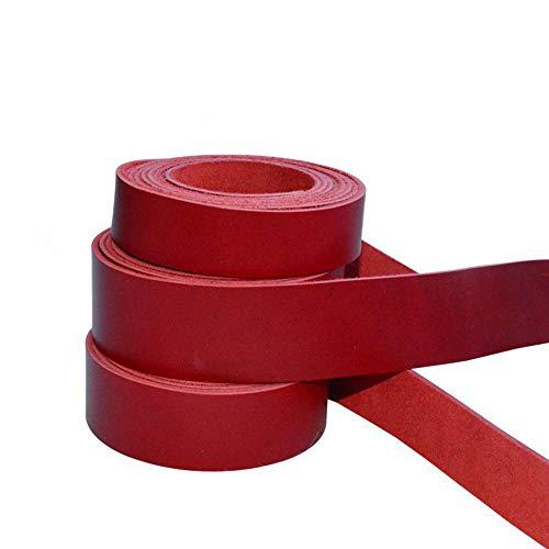 Primera Capa Cuerda de Pura Piel de Vacuno Cera de Aceite Tira de Cuero Rojo Oscuro de 2 mm de Grosor DIY Cuerda de Correa de Hombro con cordón 15mm Width - Length 100cm