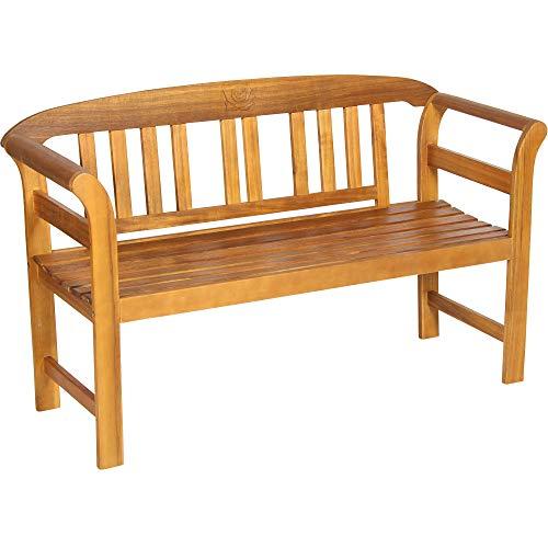 Acamp Batam Gartenbank wetterfest 2-Sitzer   Gartenbank Holz aus FSC®-zertifiziertem Akazienholz   Hochwertiges Gartenbank Teak-Öl Finish   UV-beständige Holzbank Garten mit geschnitztem Rosendekor
