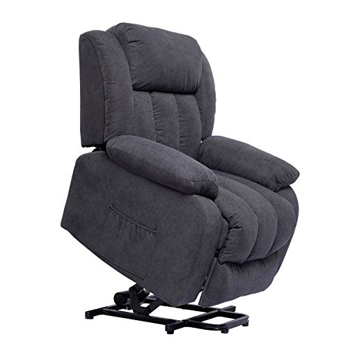 Polar Aurora Power Lift Massage Recliner Chair for Elderly Heated Fabric Recliner Ergonomic Lounge Vibratory Massage Function/Heating/Remote Control for Living Room(Grey)