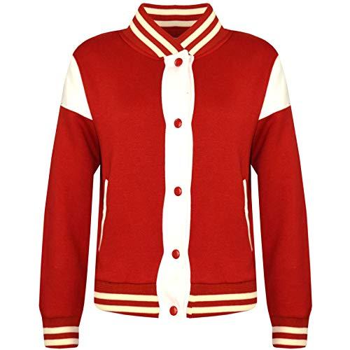 A2Z 4 Kids® Kinder Mädchen Jungen Baseball Jacke Universität Stil - B.B Plain Jacket 001_Red 9-10
