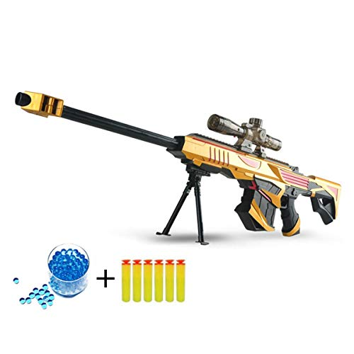 Plastic Infrared Water Bullet Gun Toy for Sniper Rifle Pistol Soft Paintball Toy + 20000 Water Bombs(Yellow Gold)