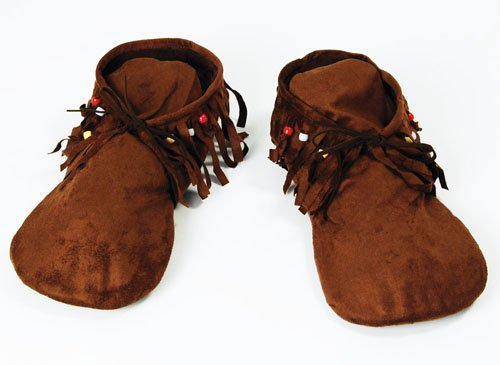Mens Fabric Moccasin Style Shoes Red Indian Hippy Footwear Fancy Dress by Home & Leisure Online
