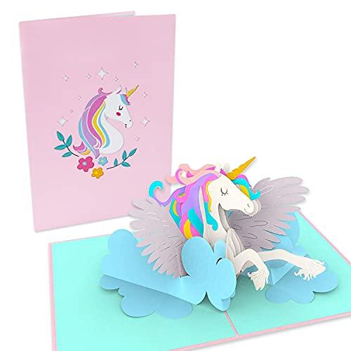 LuckeeCards® 3D Geburtstagskarte - Glückwunschkarte Geburtstag - süße Einhornkarte - Pop-up Karte - Happy Birthday Karte - Geschenkkarte mit Einhorn auf Wolke