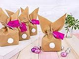 Papierdrachen 12 Osterhasen zum selber Basteln und Befüllen - Kreatives Geschenk zu Ostern mit 12 Papiertüten, Kordel und Pompons - für Mädchen - 4
