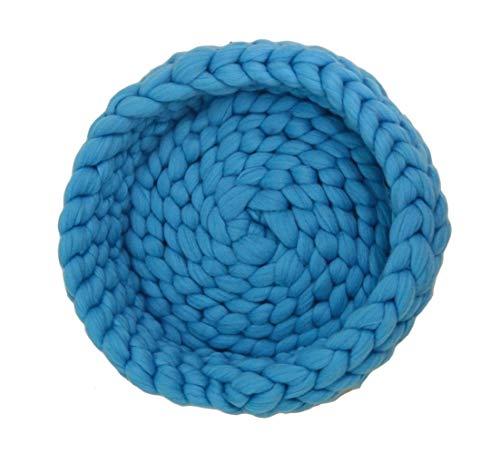 Icegrey - Cuccia per gatti in maglia grossa, realizzata a mano, per animali domestici, calda e morbida, 45 cm, colore: Blu