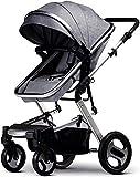 Cochecito de bebé recién nacido carro liviano liviano recién nacido carro de bebé vista alta vista bebé cochecito mini plegable cochecito 2 en 1 ligero hasta 15 kg Sistema de viaje para bebés Gris 1
