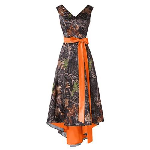 c1bce451f70 MILANO BRIDE Asymmetrical Camo Prom Dress Wedding Party Dress Double-Neck  Sash