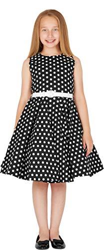 BlackButterfly Kinder 'Audrey' Vintage Polka-Dots Kleid im 50er-J-Stil (Schwarz, 9-10 J) - 3