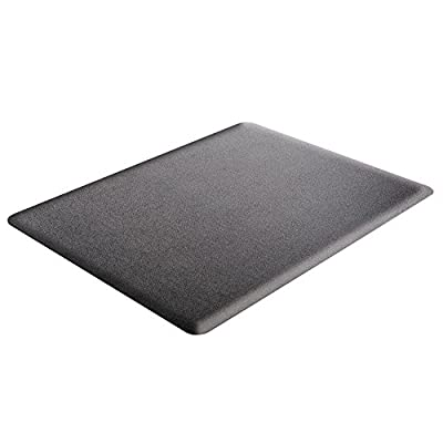 Deflecto Ergonomic Sit and Stand Black Chair Mat, Low Pile Carpet and Hard Floors, Rectangle, , Black