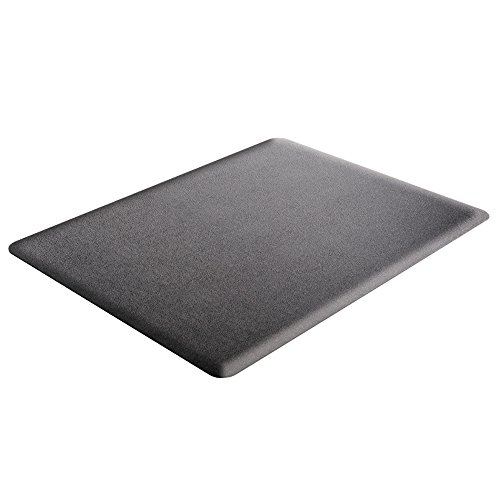 Deflecto Ergonomic Sit and Stand Black Chair Mat, Low Pile Carpet and Hard Floors, Rectangle, 46' x 60', Black