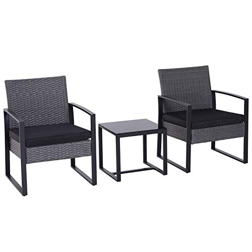 Outsunny 3 pcs PE Rattan Wicker Garden Furniture Patio Bistro Set Weave Conservatory Sofa Coffee Table and Chairs Set Grey