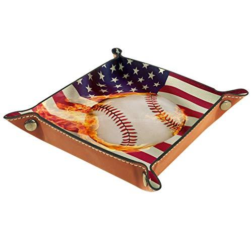 YATELI Caja de Almacenamiento pequeña, Bandeja de Valet para Hombre,Bandera Americana Fuego béisbol Estrella Raya,Organizador de Cuero para Llaves de Caja de Monedas