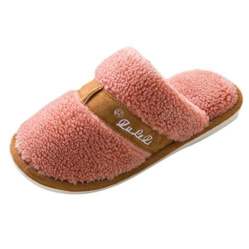 catmoew Hausschuhe Frau Winter Warm halten Zuhause Hausschuhe Frauen rutschfeste Schuhe Hausschuhe Paar Lässig Warme Hausschuhe Damen Pantoffeln PlüSch Hausschuhe