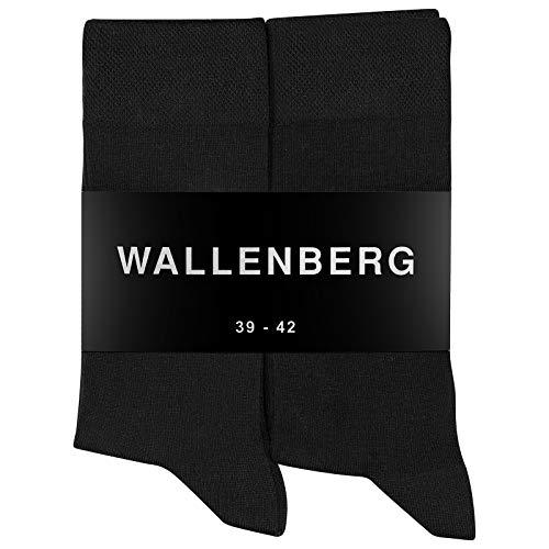 Wallenberg Business Socken Herren Damen Baumwolle 10 Paar (Schwarz) Größe 43-46
