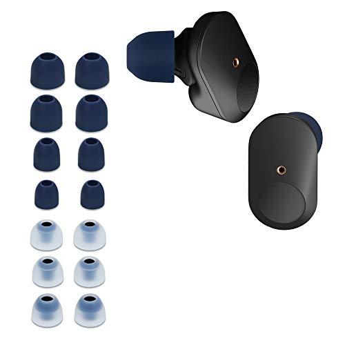 kwmobile 14x Auricolari di ricambio compatibile con Sony WF-1000XM3 Gommini sostitutivi in Silicone - 4 Misure - blu scuro/trasparente