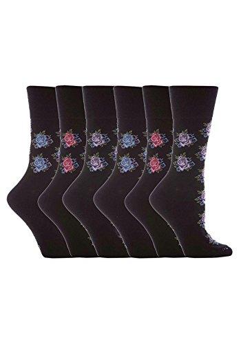 Gentle Grip - 6 Paar Damen Ges&heitssocken Diabetiker Druckfreie Spitze Handgekettelt Baumwollanteil Blumen Socken 37-42 EUR (GG32)