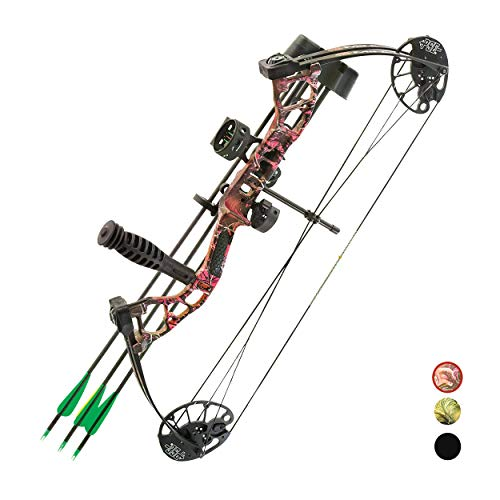 "PSE ARCHERY Mini Burner Compound Bow Kit for Beginners, Youth & Kids- Draw Range 16"" to 26 ½""- Draw 29-40LB Pull- Made in USA- Available in Left & Right Hand!, Muddy Girl Purple"