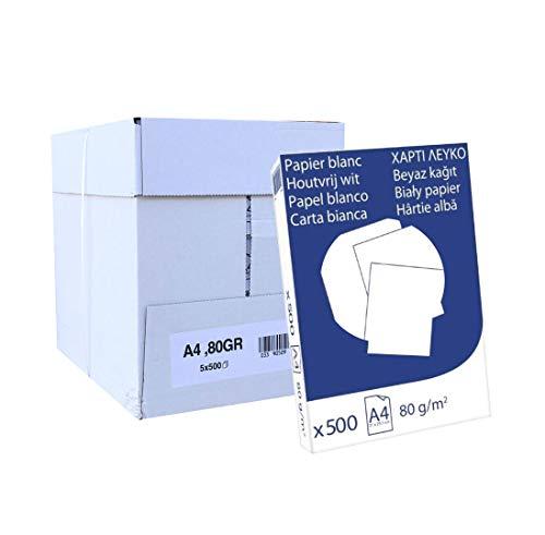 Pack 2500 Folios Papel A4 80gr Blanco. Valido para todas las impresoras y fotocopiadoras.