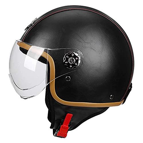 Casco Moto Abierto Casco Moto Jet Vintage Casco De Motocicleta 3 4 ECE Homologado Casco Medio Retro Media Cara Casco De Protección Cascos Abatibles Para Mujer Hombre Con Visera,Negro,M