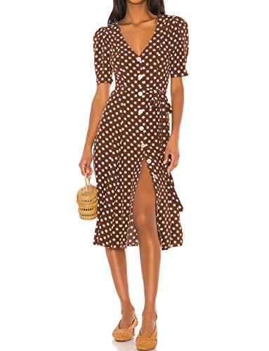 CMZ2005 Women Short Sleeves V Neck High Waisted Dresses Casual Button Down Dot Print Dress 72003 (Brown, XL)