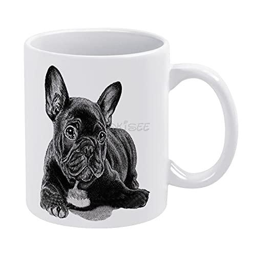 DKISEE Lovely French Bulldog Mug, Novelty Ceramic Coffee Mug Tea Cup 11 Oz, Christmas Birthday Holiday Gifts Ideal, xi205