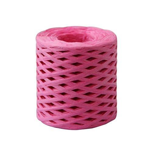 SQJU Cuerda de Papel Cinta de Rafia Envoltura de Encaje Caja de Cuerda Envoltura Scrapbooking Manualidades Boda Decoración de Fiesta de cumpleaños, Rosa roja