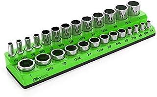 Olsa Tools Magnetic Socket Organizer | 3/8-inch Drive | SAE Green | Holds 26 Sockets | Premium Quality Tools Organizer