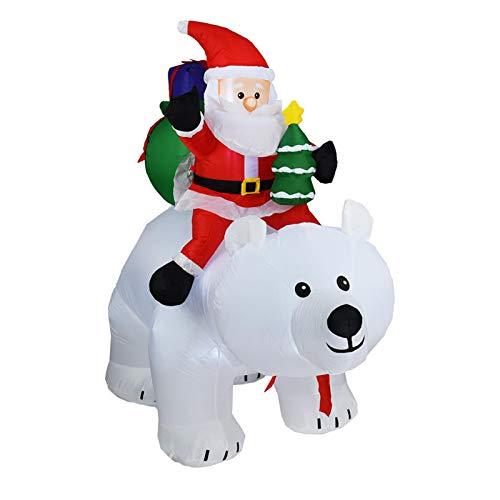 Rubeyul 2 m uppblåsbar jultomte, jultomten rider en isbjörn, uppblåsbar huvudskakande jultomtedocka dekoration, för jul gård trädgård dekorationer juldekoration