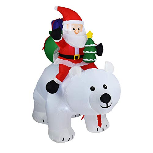 LyhomeO 2M Christmas Decorations, Inflatable Dolls, Santa Claus Riding A Polar Bear, Inflatable Santa Claus With Shaking Head, LED Christmas Decorations For Indoor And Outdoor Courtyards, s