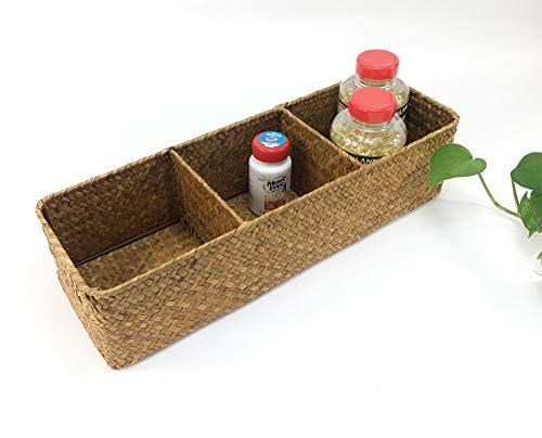 LA handgeflochtener Aufbewahrungskorb aus Seegras, rechteckiger Korb und Organizer für Zuhause, natürliche Wasserhyazinthe (braune Mitte) - 2