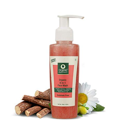 Organic Harvest 6-in-1 Face Wash For Women Daily Use with benefits of Oil Control + Lightening & Brightening   Face Wash With Scrub For Oily Skin   100% Organic, Paraben & Sulphate Free – 125gm
