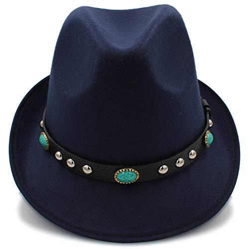 Unbekannt Boler Wolle Jazz Cap Hut for Frauen Vintage Winter Damen Hüte mit Metallgürtel weibliche gelockte Krempe Hut (Color : Dark Blue, Size : 56-58cm)