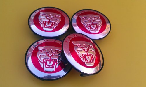 Jaguar Alloy Wheel Centre Caps Badges RED/Nabendeckel Felgendeckel Nabenkappen Logo Rot 57mm Teilenummer 8W93-1A096
