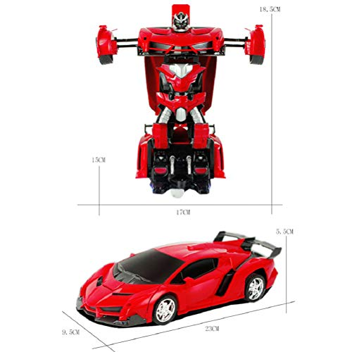 teyiwei 2 in 1 Ferngesteuerte Autos RC Kampfauto für Jungen Mädchen Modell Maßstab 1:18 Verwandeln Auto Roboter mit EIN-Knopf-Transformation & Ferngesteuerte Fahrzeugautos (Rot)