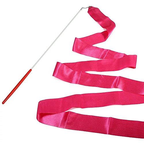 E-Goal 4M Banda de Gimnasia Danza con Antideslizante Larga de Barra de Metal Moldeado Cable (Rosa Caliente) ✅