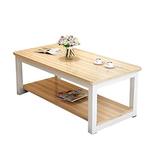 Mesa de centro de la sala de estar, mesa de la mesa de café redonda de madera maciza, mesa de sofá con estante de almacenamiento, 120 * 60 * 45 pulgadas, adecuado para sala de estar, área de ocio,