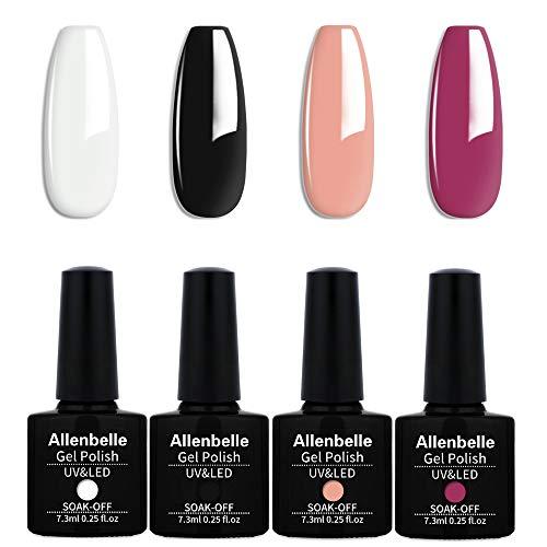 Allenbelle Smalto Semipermanente Nail Polish UV LED Gel Unghie (Kit di 4 pcs 7.3ML/pc) 017