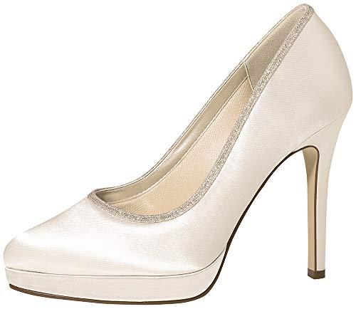 Rainbow Club Brautschuhe Tallulah - Damen High Heels gepolstert, Glitzer, Ivory/Creme, Satin - Gr. 36.5 (UK 3.5)